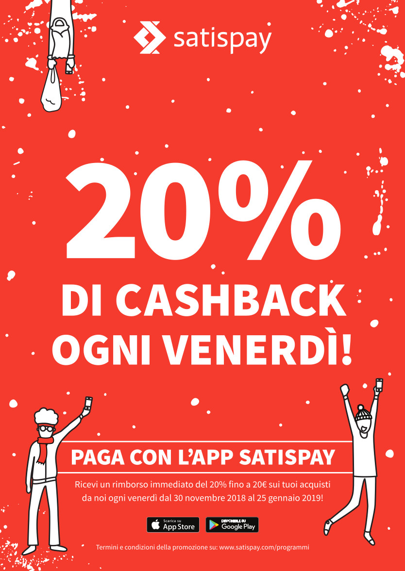 News - Satispay 20% CASH BACK OGNI VENERDI'